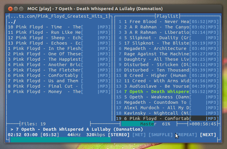 moc - lightweight music player for ubuntu linux