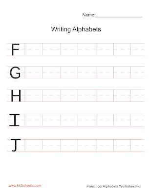 Free Printable Preschool Writing Alphabets Worksheets, Free Worksheets, Kids Writing Worksheets, Alphabets Worksheets, Preschool Writing Alphabets Worksheets, Writing Alphabets, Preschool, Kids Writing Alphabets, Uppercase Alphabets,Writing Upper Case Alphabets F-J, Writing Alphabets Worksheets