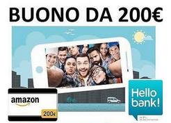 Buono da 200€ su amazon se apri un conto hellobank con codice MGM307236947