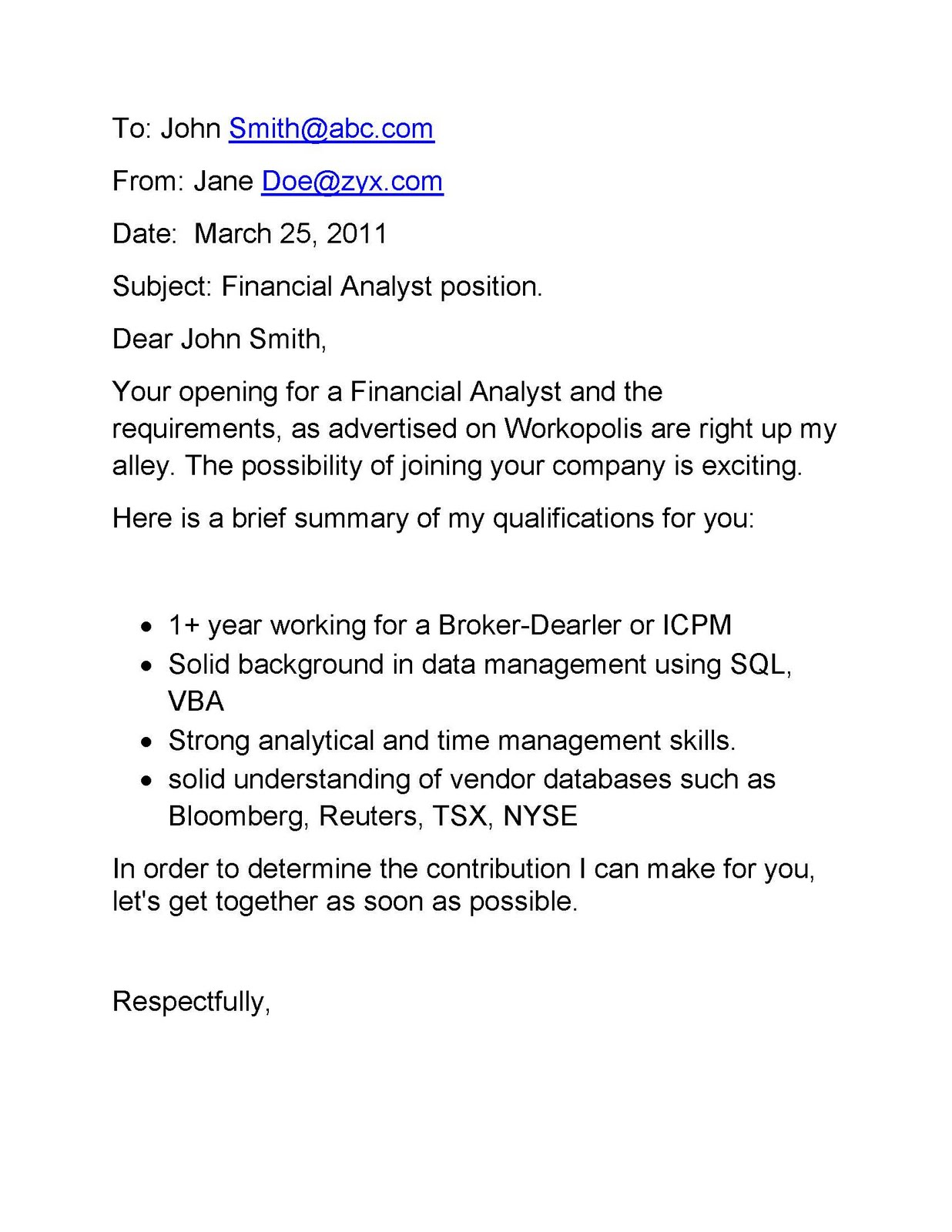 This email cover letter was generated with the Oneclick cover letter ...