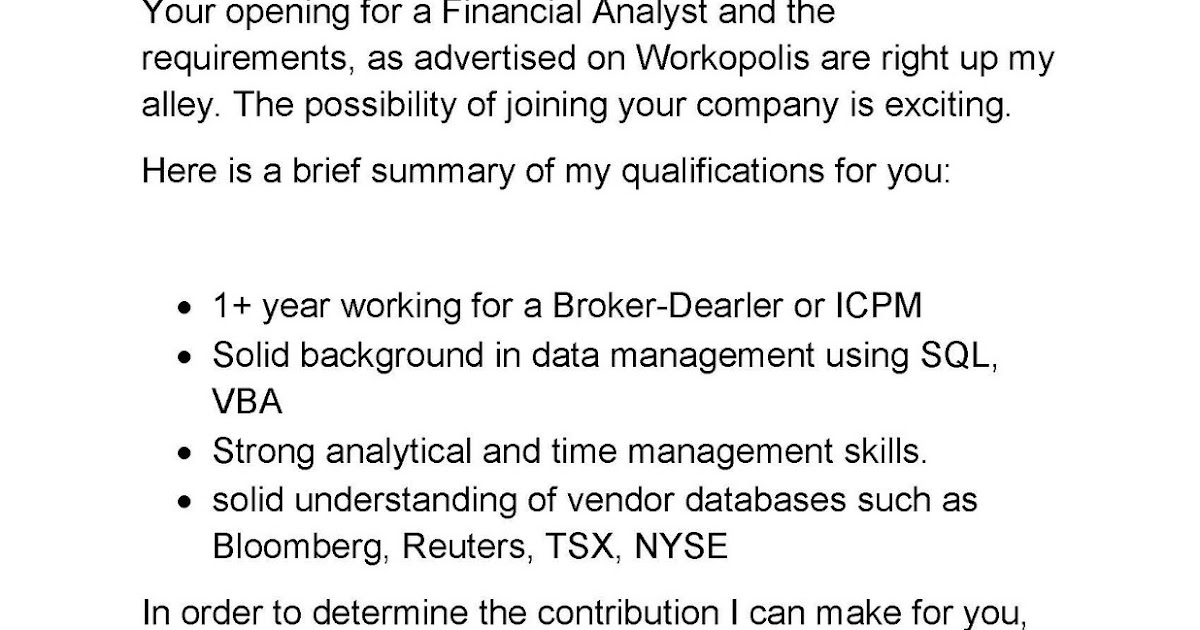 Financial Analyst Cover Letter. Information Analyst Cover Letter ...