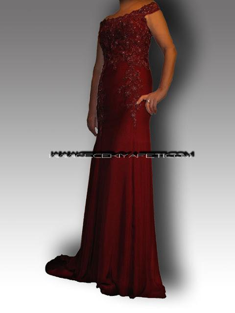 Bordo Şifon Dantel Gece Elbisesi Tasarımımız