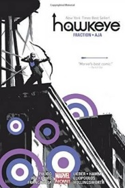 Cover of the Hawkeye omnibus, featuring a small, male figure firing a bow from atop a roof with a water tower in the background. He has an abstract blueish purple arrow on his chest and an assortment of purple, white, and blue bullseyes surround him; otherwise, the cover is black and white with a stark white sky above the character.