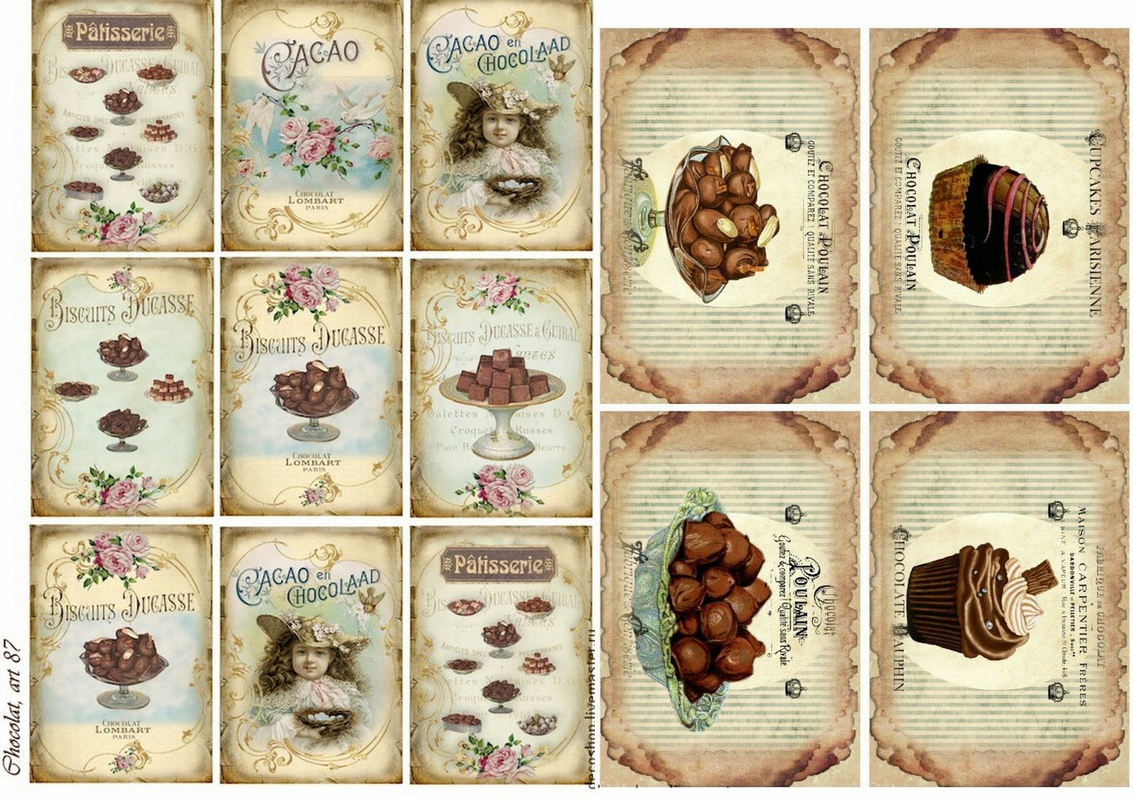 Free Printable Chocolate Vintage Labels.