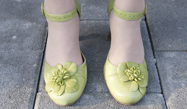 shoes, green, vintage, flower