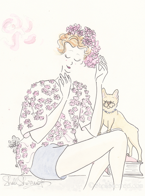 Fashion and fluffballs illustration :  Flower Power, Spring and Sprung © Shell-Sherree