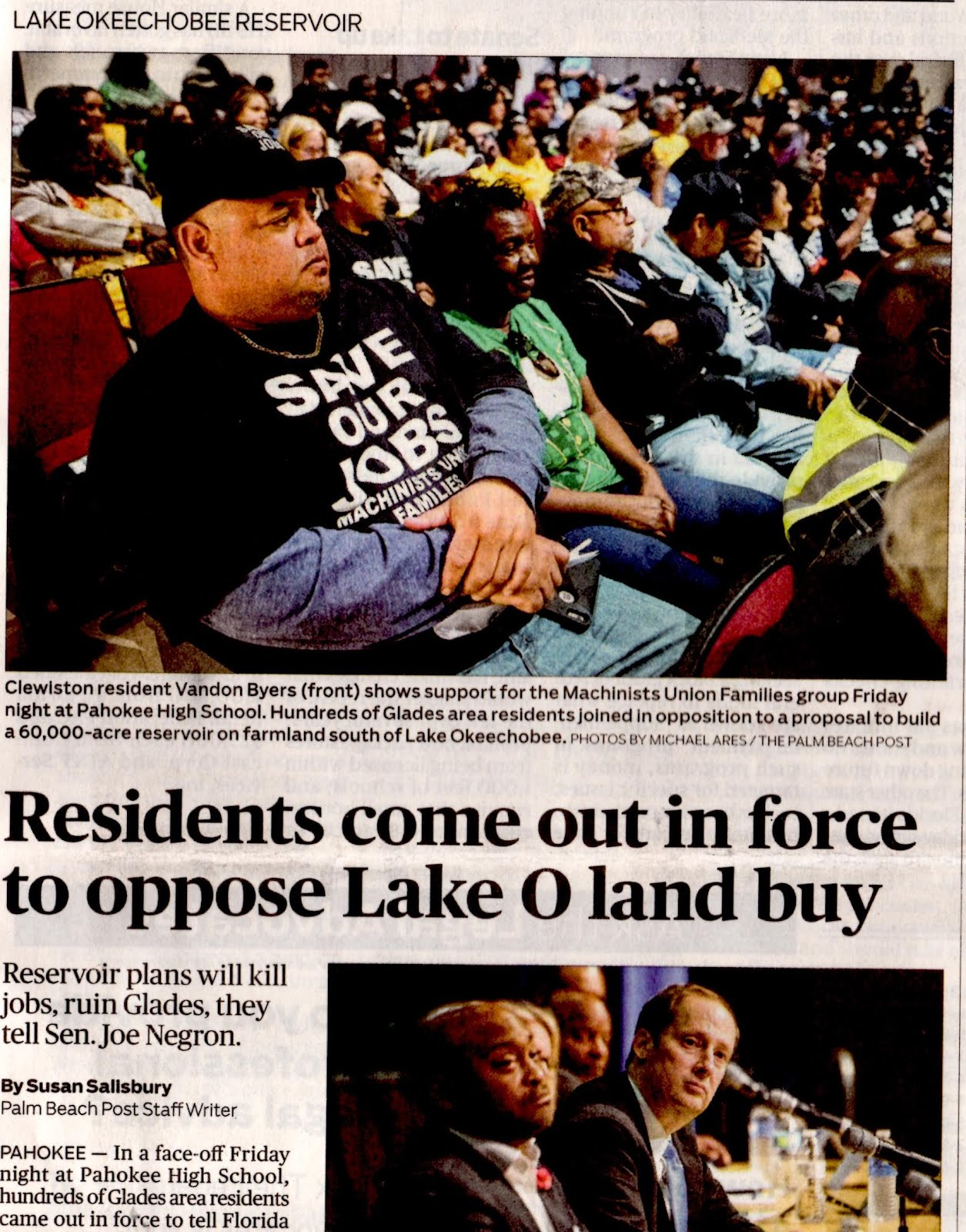 "City of Pahokee news in ""B"" section: Not Front Page news last Sunday in Palm Beach Post?"