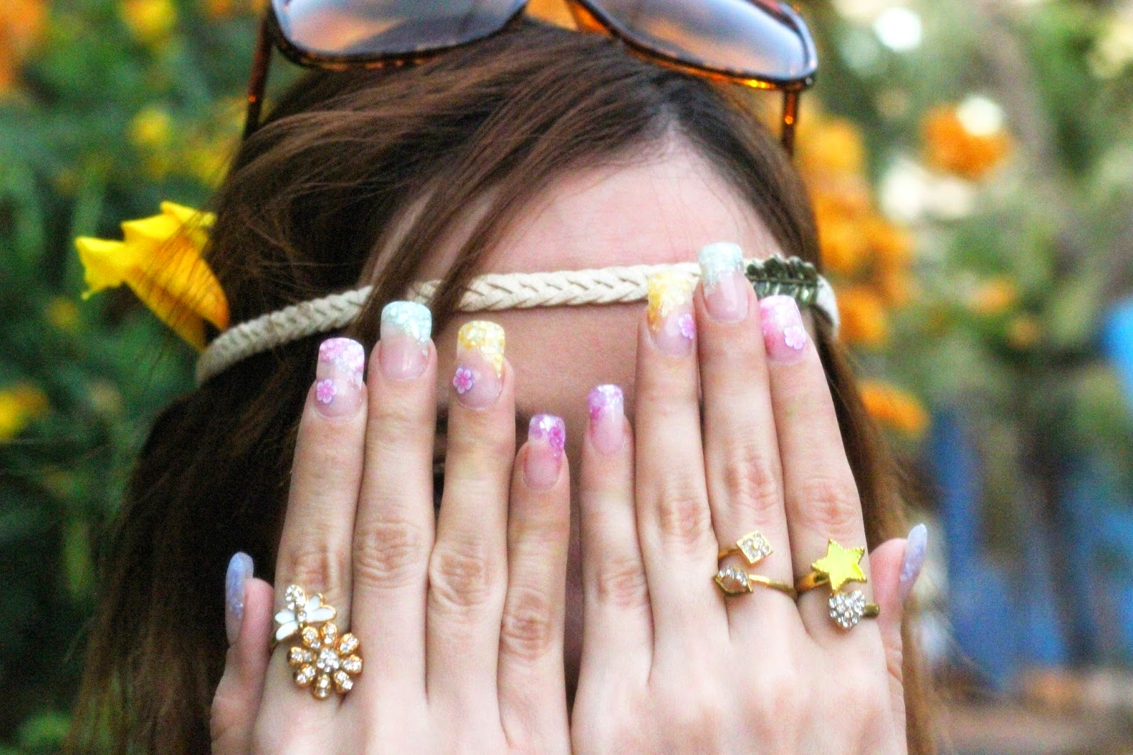 Multi-colour Manicure with charm rings