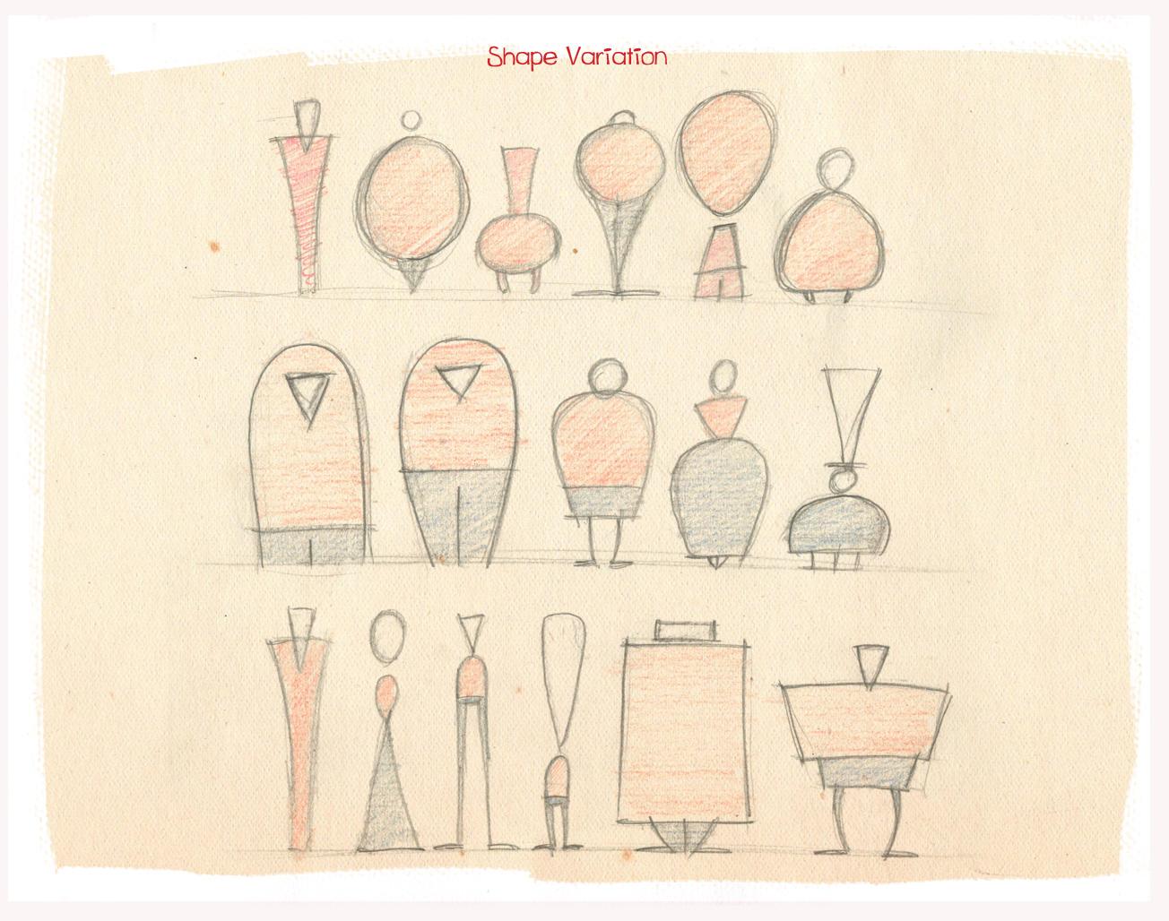 Character Design Using Basic Shapes : Echromiec shape variation