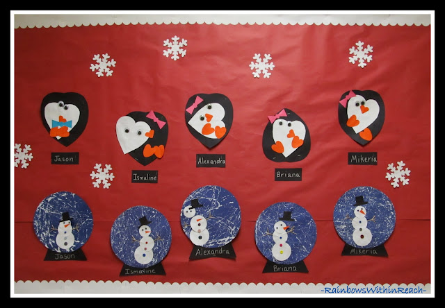 photo of: Winter Bulletin Board with Penguins + Snow Globes