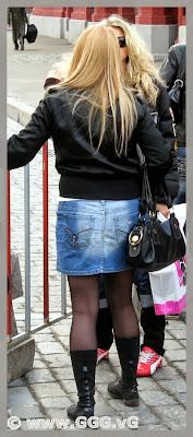 Girl wearing denim skirt