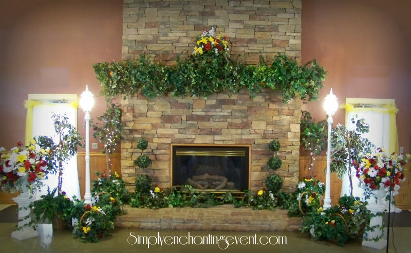 Simply Enchanting Event Using a Fireplace as a Wedding Backdrop