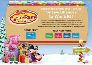 Mattel & Fisher-Price List-O-Rama Holiday Sweepstakes