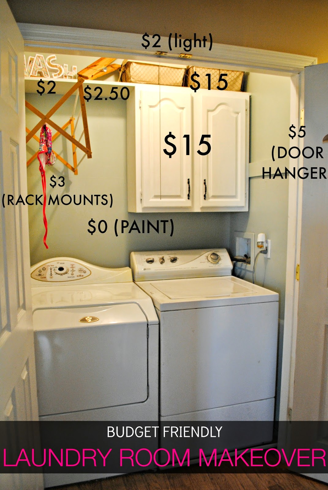 Two it yourself 45 laundry closet makeover reveal for Laundry room ideas small budget