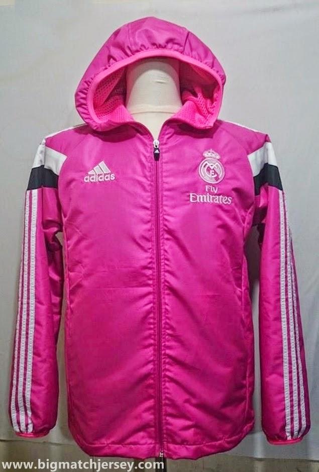 Jaket Waterproof Anti Air Real Madrid Pink Official 2014 - 2015