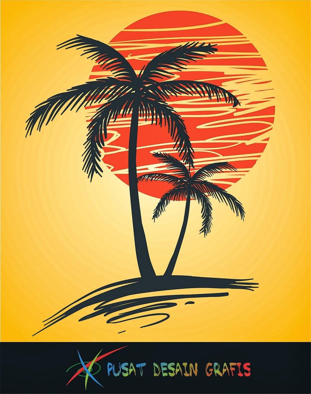 pusat desain grafis pohon palm vector