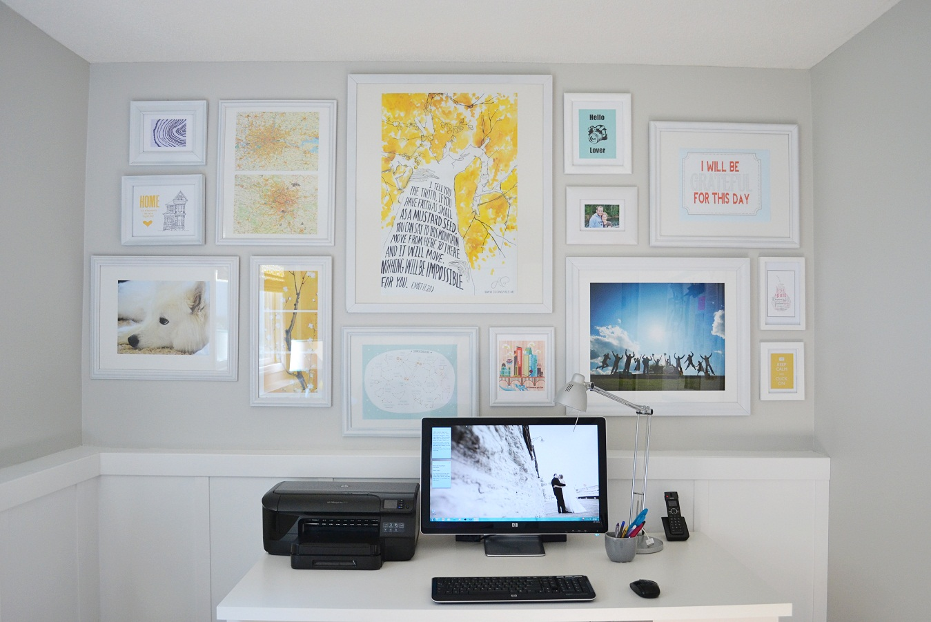 dwelling cents office gallery wall