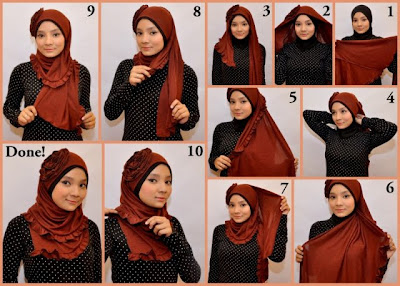 cara memakai jilbab kain shawl