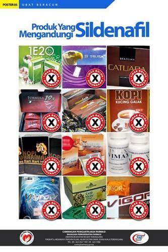 Produk yang mengandungi Sildenafil (racun berjadual yang di kawal di bawah Akta Racun 1952).