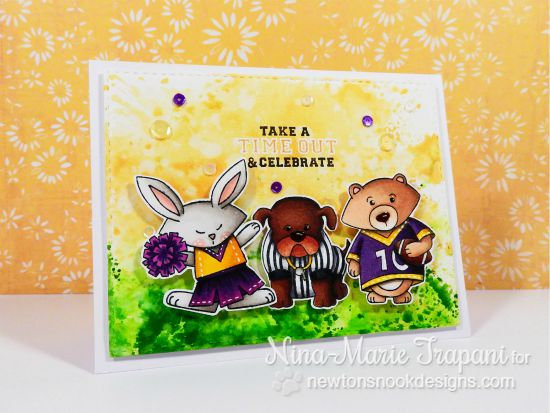 Football Birthday card by Nina-Marie Trapani  | Touchdown Tails stamp set by Newton's Nook Designs #newtonsnook #football
