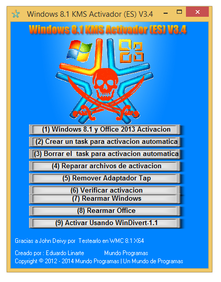 Activador de Windows 8.1 y Office 2013 KMS V. 3.4 by Eduardo Linarte