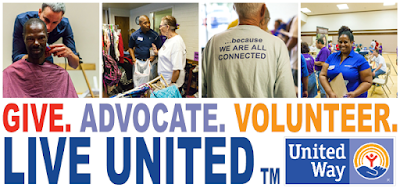 United Way poster: Give. Advocate. Volunteer.  Live United.  Montage of images featuring volunteers and people who benefit from UW services.