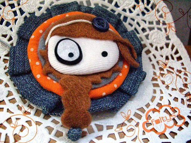 broche original foltys vs denim: orange (100% handmade with ♥)