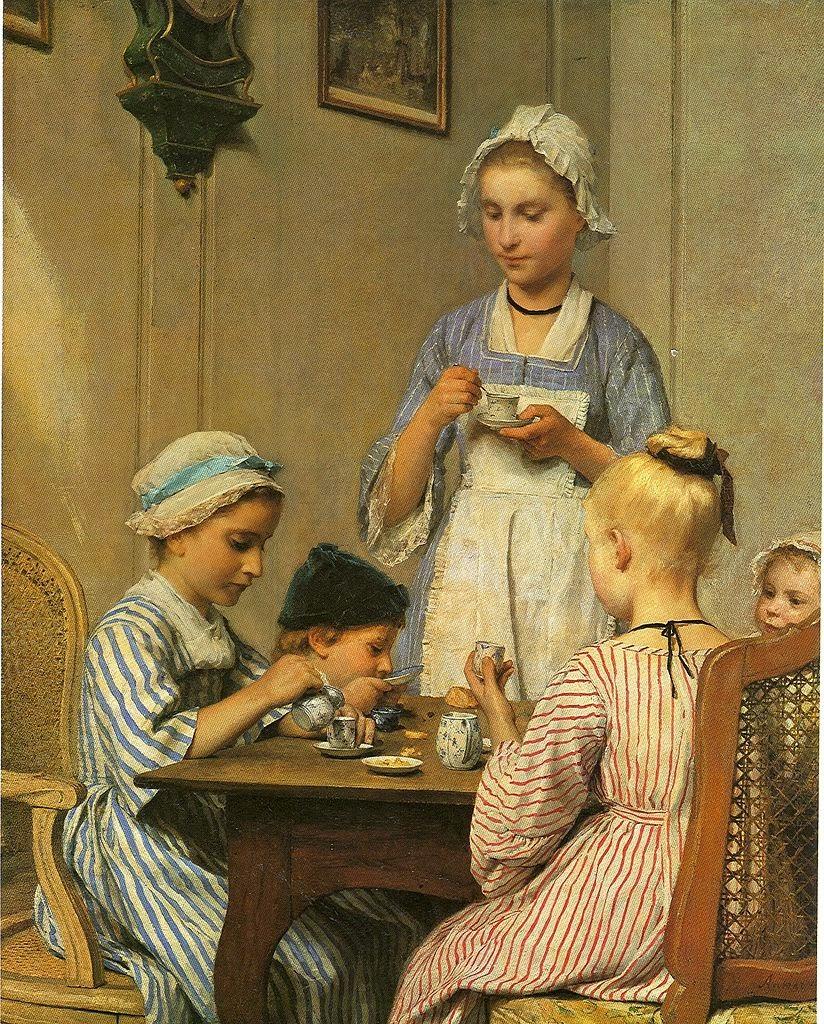albert anker, children painting,cute painting