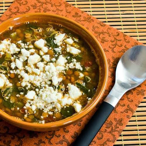 Slow Cooker Vegetarian Greek Lentil Soupwith Tomatoes, Spinach, and ...
