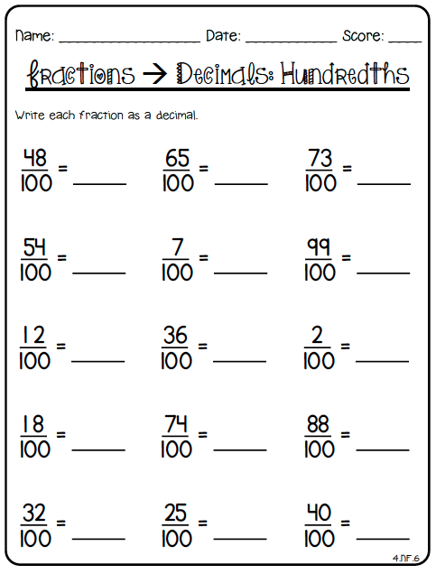 Decimals to fractions worksheets 4th grade