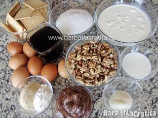 Prajitura Deliciu cu blat din nuca si crema - toate ingredientele retetei
