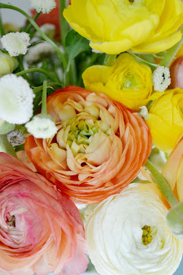 ranunculus, spring, flowers, bouquet, petals, peach, yellow