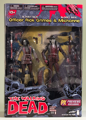 Previews Exclusive Bloody Black and White Rick Grimes & Michonne The Walking Dead Action Figure 2-Pack in Packaging by McFarlane Toys