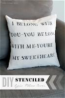 DIY Stenciled Lyric Pillow www.lovegrowswild.com