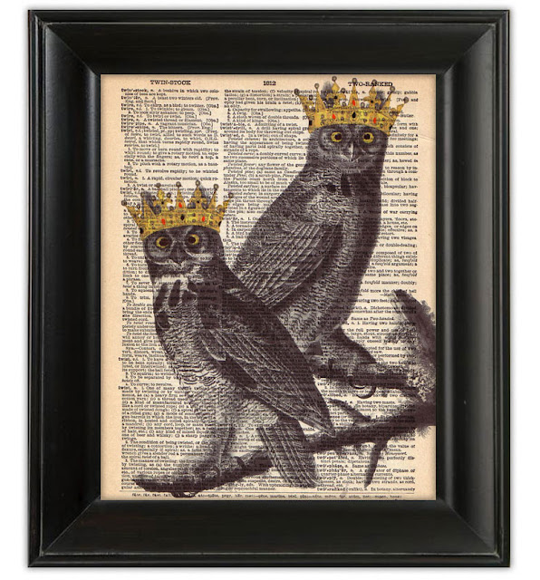 dictionary art print book page owls crowns king prince