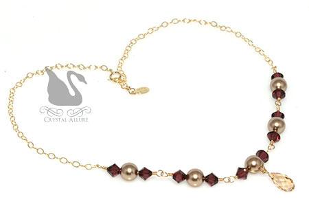 Lauren's Custom Crystal Pearl Maid of Honor Necklaces (NC138)
