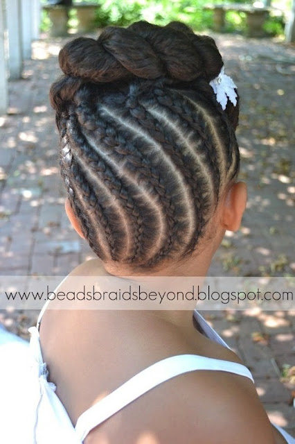 Lil Black Girl Hairstyles For Wedding : Beads braids and beyond natural flower girl updo with
