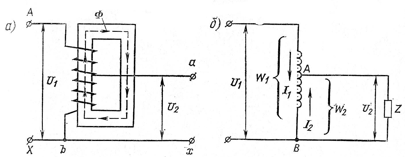 Устройство (а) и схема включения (б) автотрансформатора
