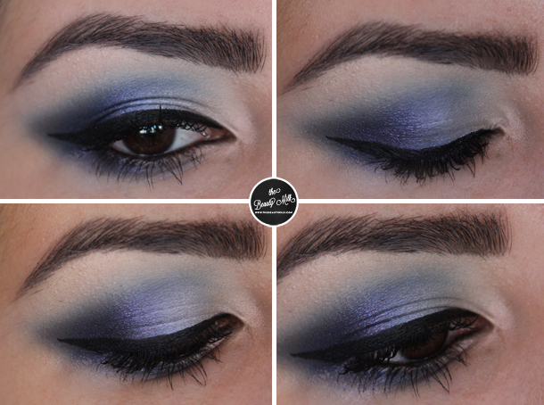 mac cornflower pigment moon reflection makeup look blue smokey eye