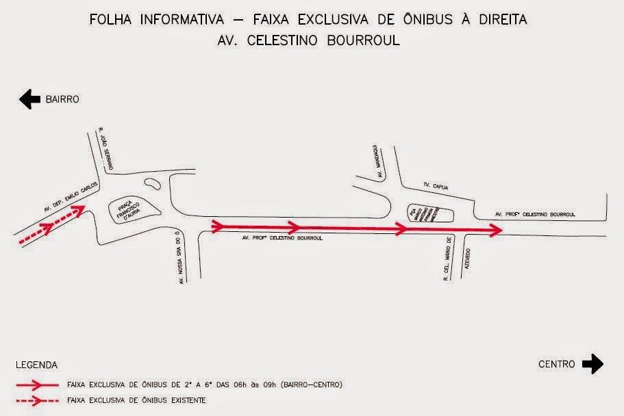 Faixa exclusiva à direita para ônibus na Avenida Celestino Bourroul