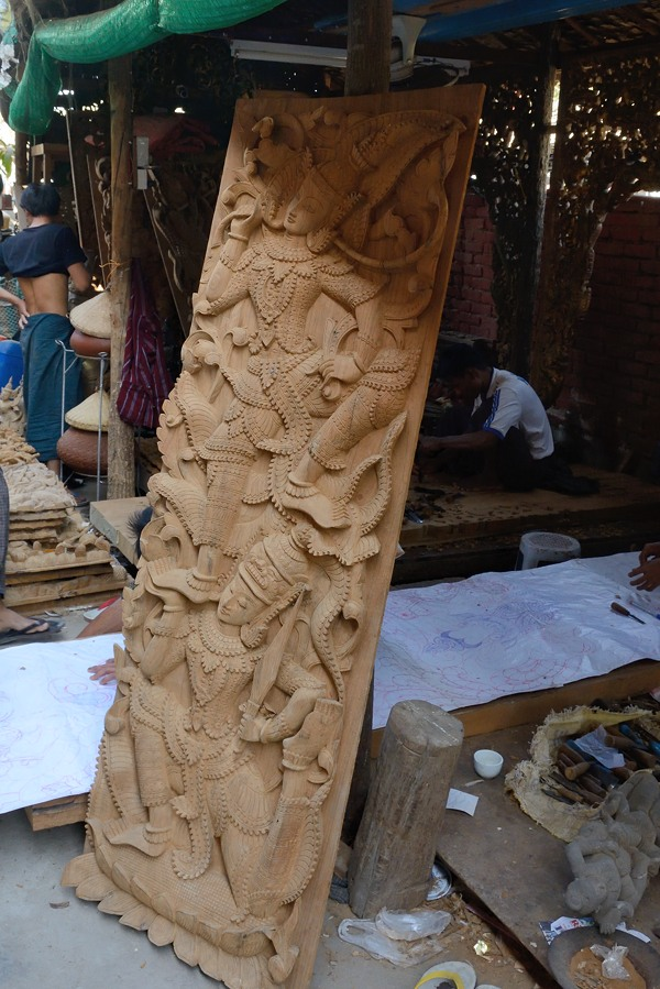 Teak carving in Mandalay
