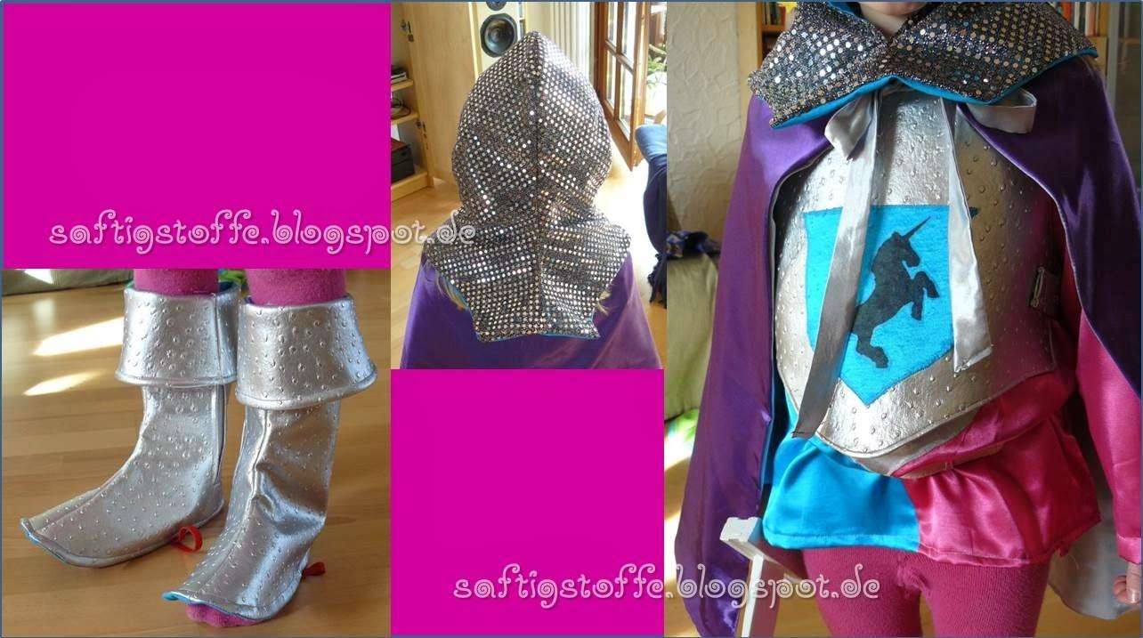 Ritter-Kostüm für Mädchen in türkis, pink und silber