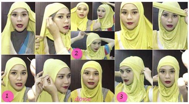 Foto Tutorial Cara Pakai Hijab Modern Ala Zaskia Adya Mecca
