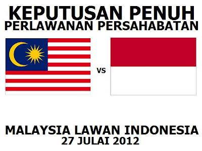 Keputusan Malaysia Vs Indonesia 27 Julai 2012