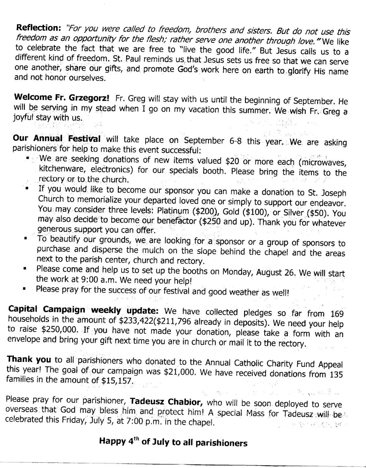 St Joseph's Church Services & Parish Family Life Info