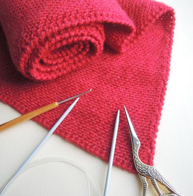 scarf.jpg, снуд, вязание, вязание спицами, шарф, красивый снуд, платочная вязка, красный