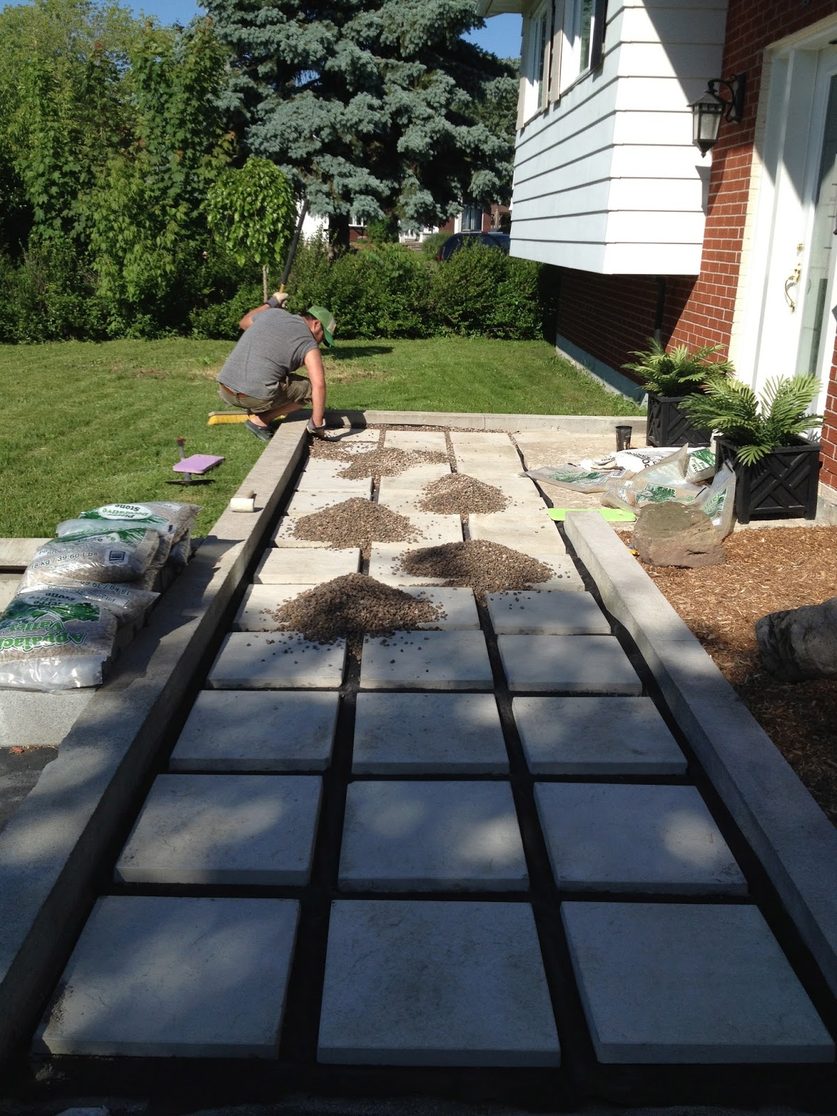 Zen shmen our diy front path makeover for How to build a river rock patio