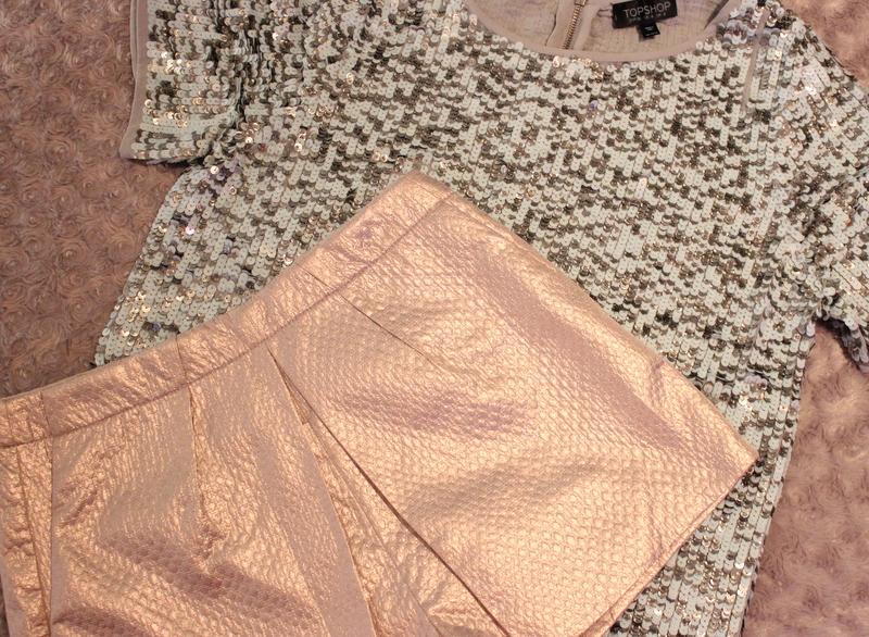 Topshop Metallic Jacquard Skort outfit