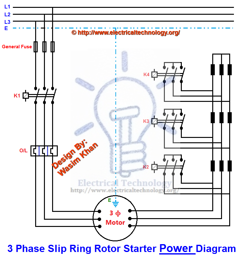 Electrical technology for 3 phase motor starter circuit