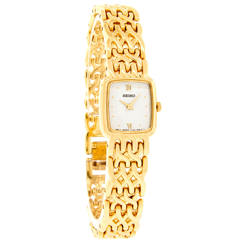 Seiko Quartz Ladies White Dial Gold Xxx Weaved Bracelet Dress Watch SWA042